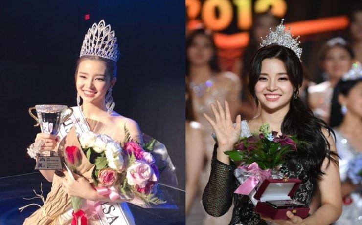Kim Sae-yeon was crowned Miss Korea USA (left) and 2019 Miss Korea (right). Courtesy of Hankook Ilbo E&B