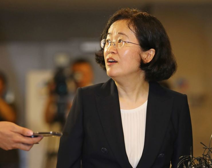 Fair Trade Commission chairwoman nominee Joh Sung-wook listens to reporters' question at the Korea Fair Trade Mediation Agency in Seoul, Friday. Yonhap