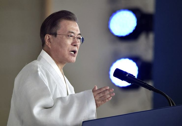 President Moon Jae-in delivers a speech during a ceremony to mark the 74th anniversary of Korea's liberation from Japanese colonial rule, at the Independence Hall of Korea in Cheonan, Thursday. AP-Yonhap