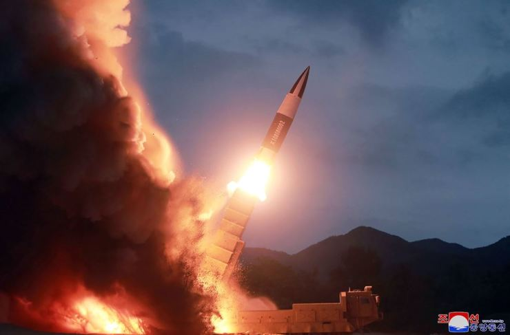 This photo, provided by the North Korean government, shows what it says the launch of a short-range ballistic missile from the east coast of North Korea. North Korea on Saturday extended its recent streak of weapons displays by firing what appeared to be two short-range ballistic missiles into the East Sea, according to South Korea's military. AP-Yonhap