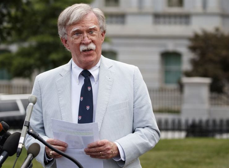 U.S. National security adviser John Bolton speaks to media at the White House in Washington, Wednesday, July 31, 2019. (AP Photo/Carolyn Kaster)
