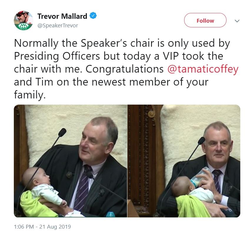 New Zealand's Speaker of the House, Trevor Mallard, feeds a baby while pressing over debate on Wednesday (local time). Captured from his Twitter