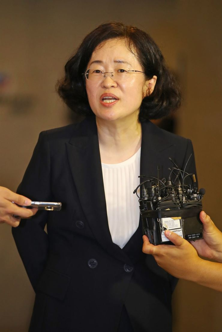 Fair Trade Commission chairwoman nominee Joh Sung-wook speaks to reporters at the Korea Fair Trade Mediation Agency in Seoul, Friday. / Yonhap