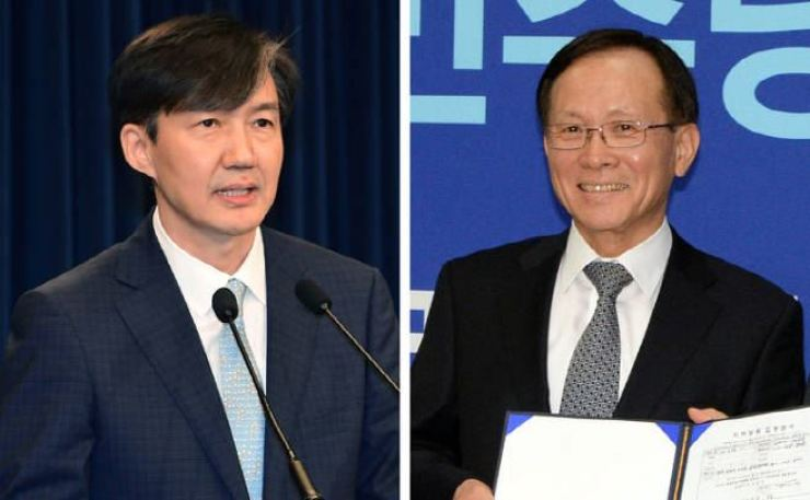 President Moon Jae-in carried out his first Cabinet shake-up in five months on Friday. Cho Kuk, left, was nominated to lead the Ministry of Justice. Lee Soo-hyuck, right, was named new ambassador to the United States. Korea Times file