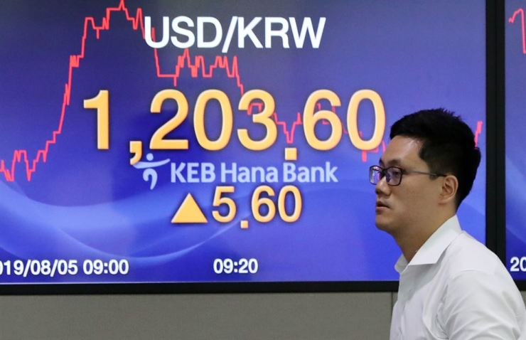 U.S. dollar to Korean won exchange rate is displayed at the KEB Hana Bank's dealing room in central Seoul, Monday. Yonhap