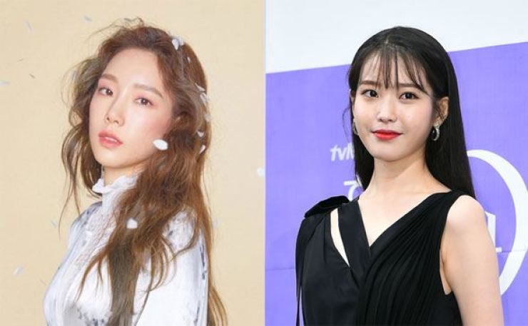 K-pop singers Taeyeon, left, and IU donated money to support people in need. Courtesy of SM Entertainment, Korea Times file