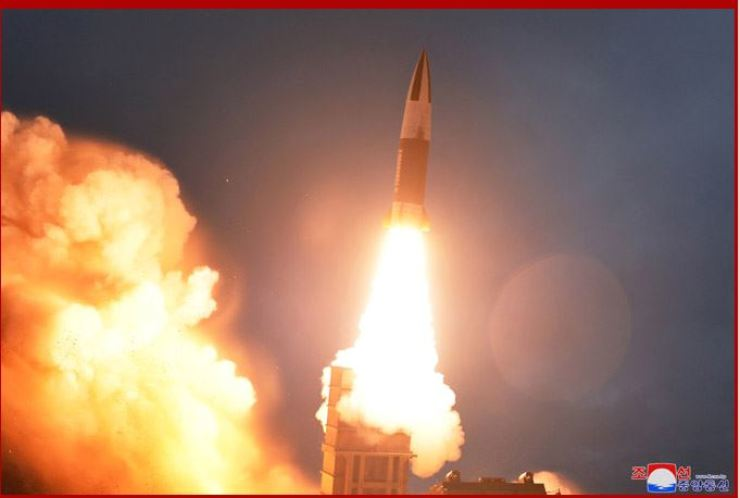 This photo released by North Korea's state-run Korean Central News Agency (KCNA) on Aug. 10 shows North Korea test firing a short-range ballistic missile (SRBM) which resembles the U.S. Army's tactical missile system. North Korea again fired two projectiles speculated to be SRBMs Friday, Seoul's JCS said, six days after the previous launch. KCNA-Yonhap