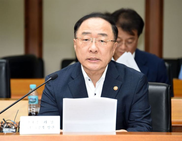 Deputy Prime Minister Hong Nam-ki speaks during a government meeting for economic vitality and innovative growth at the Export-Import Bank of Korea headquarters in Seoul, Wednesday. / Courtesy of Ministry of Economy and Finance