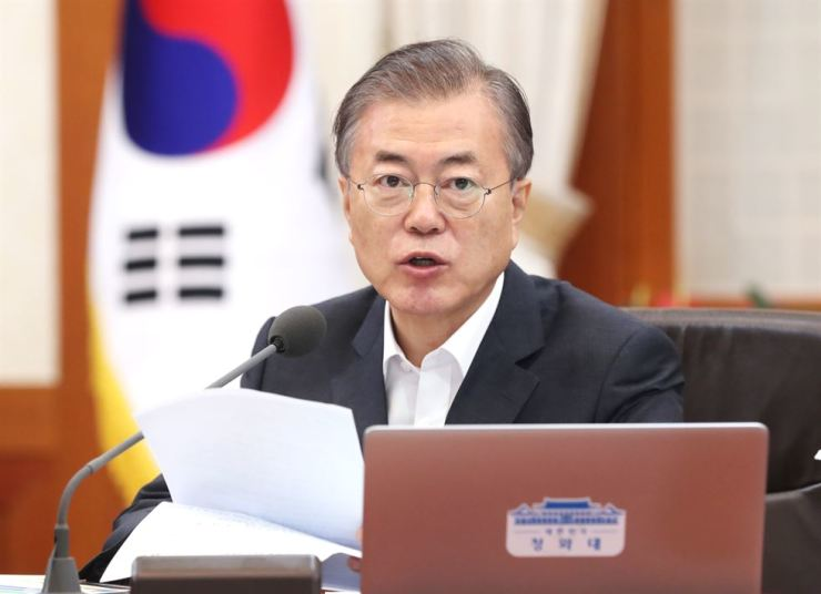President Moon Jae-in speaks during a Cabinet meeting at Cheong Wa Dae, Thursday. Yonhap