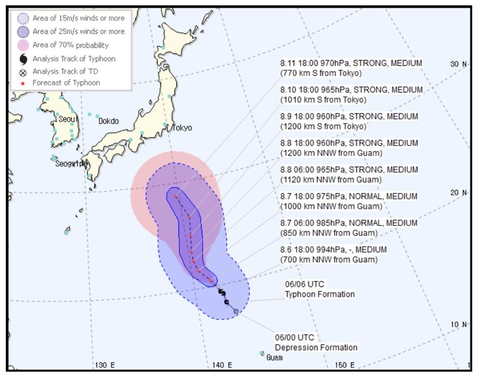 The expected path of Typhoon Lekima. Captured from KMA website