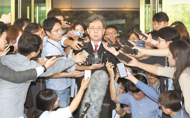 Kim Hyun-chong, center, deputy chief of the presidential National Security Office, answers questions after a meeting with U.S. special envoy for North Korea Stephen Biegun at the Central Government Complex, in Seoul, Thursday. The senior presidential aide