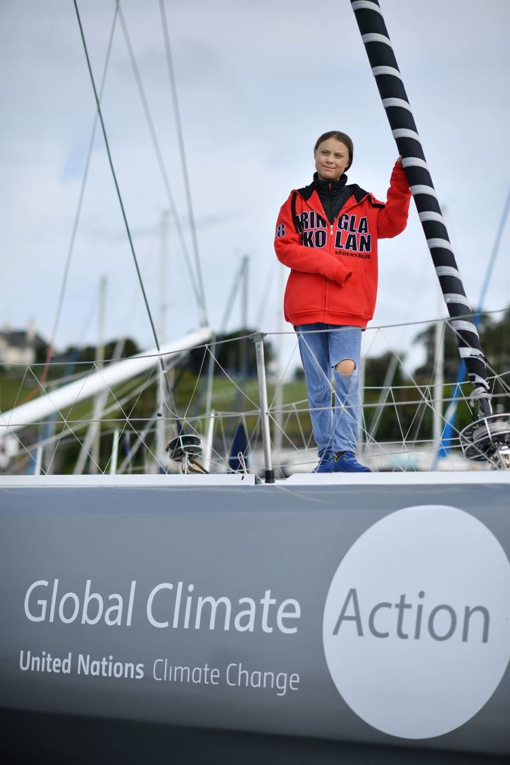 Swedish climate activist Greta Thunberg poses for a photograph during an inteview with AFP onboard the Malizia II sailing yacht at the Mayflower Marina in Plymouth, southwest England, Tuesday. /AFP-Yonhap