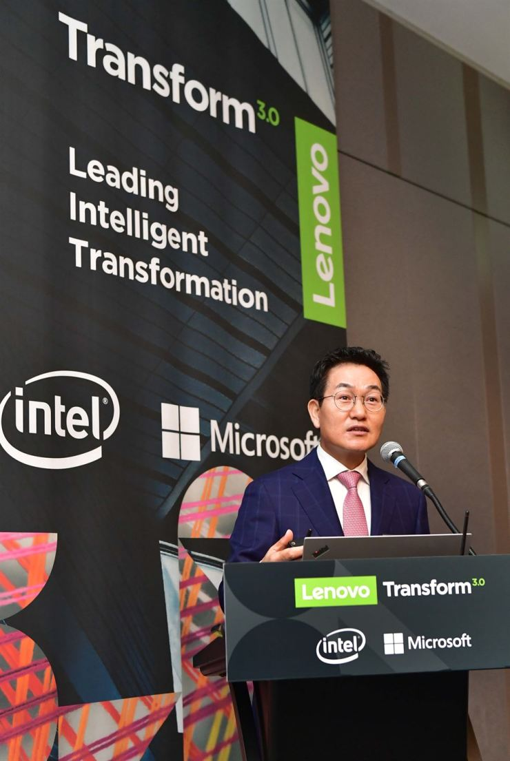 Lee Hee-sung, general manager of Lenovo Korea, speaks during a press conference at the Grand InterContinental Seoul Parnas hotel, Tuesday. / Courtesy of Lenovo Korea
