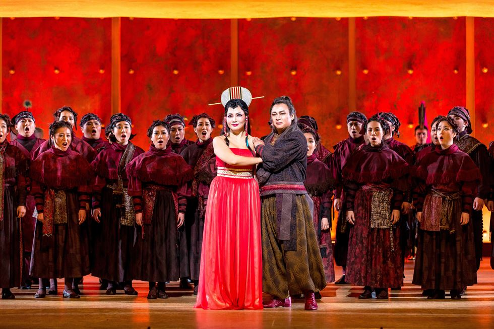 Seoul Arts Center presents Puccini's opera 'Turandot' from Aug. 8 to 18 at the arts center's CJ Towol Theater. Soprano Lilla Lee, center, alternates the title role with soprano Lee Dami. Courtesy of Seoul Arts Center
