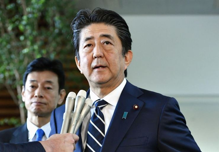Japan's Prime Minister Shinzo Abe speaks to media at his official residence in Tokyo, Japan, in this photo taken by Kyodo August 23, 2019. Mandatory credit Kyodo/via REUTERS