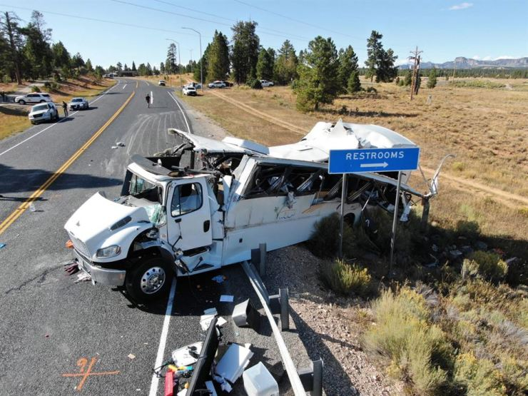A handout photo made available by the Utah Highway Patrol shows the scene of a multiple-fatality bus crash which occurred on Utah Highway 12 near the Bryce Canyon National Park in Bryce Canyon, Utah, Sept. 20 2019. EPA