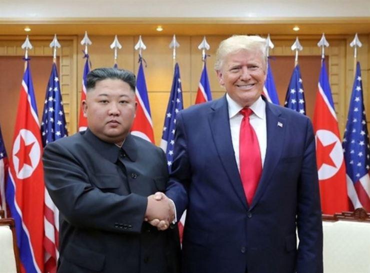 U.S. President Donald Trump shakes hands with North Korean leader Kim Jong-un at the inter-Korean border village of Panmunjeom on June 30. Yonhap