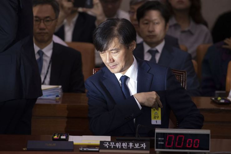 Justice Minister nominee Cho Kuk attends a hearing at the national assembly in Seoul, Friday. Korea Times photo by Choi Won-suk