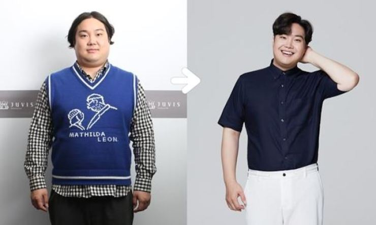 Yoo Jae Hwan before and after his extreme diet. / Korea Times file