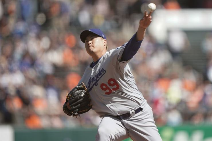 In this file photo dated Sept. 28, 2019, Los Angeles Dodgers starting pitcher Ryu Hyun-jin pitches against the San Francisco Giants during the first inning at Oracle Park.