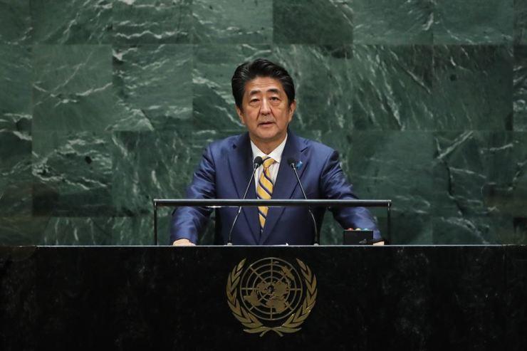 Japanese Prime Minister Shinzo Abe speaks at the 74th United Nations (U.N.) General Assembly on September 24, 2019 in New York City. Spencer Platt/Getty Images/AFP (Photo by Spencer Platt/Getty Images)