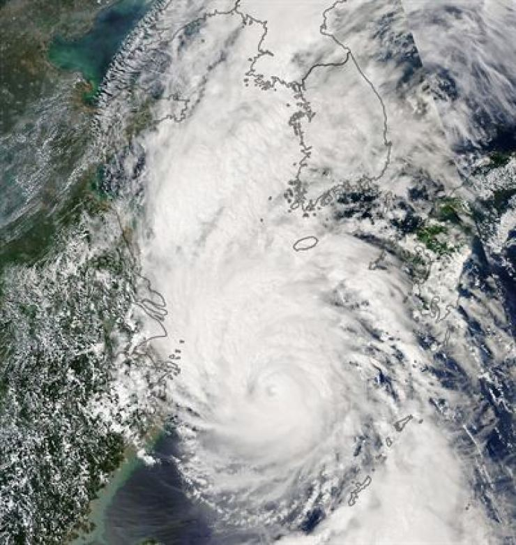 This image obtained from NASA Earth Observatory shows Typhoon Lingling on Sept. 6, 2019. AFP