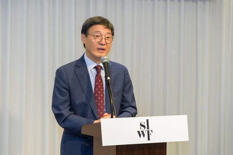 President of the Literature Translation Institute of Korea (LTI Korea) of Korea Kim Sa-in speaks during a press conference in central Seoul, Tuesday. Courtesy of LTI Korea