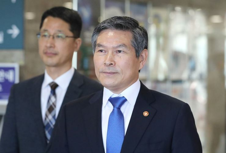 Defense Minister Jeong Kyeong-doo leaves the National Assembly after attending a seminar, Monday. Yonhap
