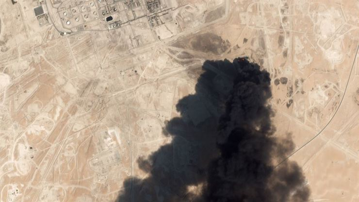 This satellite overview handout image obtained Sept. 16, 2019, shows damage to oil/gas infrastructure from weekend drone attacks at Abqaig on Sept. 14 2019 in Saudi Arabia. Drone attacks on key Saudi oil facilities have halved crude output from OPEC's biggest exporter, catapulting oil prices by the largest amount since the first Gulf War. The crisis has focused minds on unrest in the crude-rich Middle East, with Tehran denying Washington's charge that it was responsible. AFP