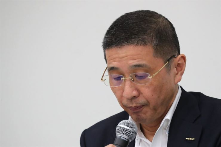Nissan Chief Executive Hiroto Saikawa attends a press conference in the automaker's headquarters in Yokohama, near Tokyo, Monday, Sept. 9, 2019. Saikawa tendered his resignation after acknowledging that he had received dubious income and vowed to pass the leadership of the Japanese automaker to a new generation. AP