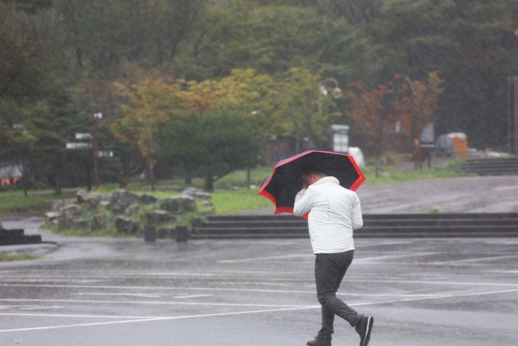 A man with an umbrella walks on Jeju Island, Saturday, as Typhoon Tapah approaches the island. Yonhap