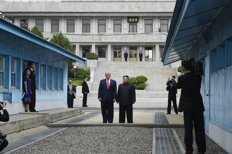 U.S. President Donald Trump meets with North Korean leader Kim Jong-un at the border village of Panmunjom in the Korean Demilitarized Zone in this June 30, 2019, file photo. AP