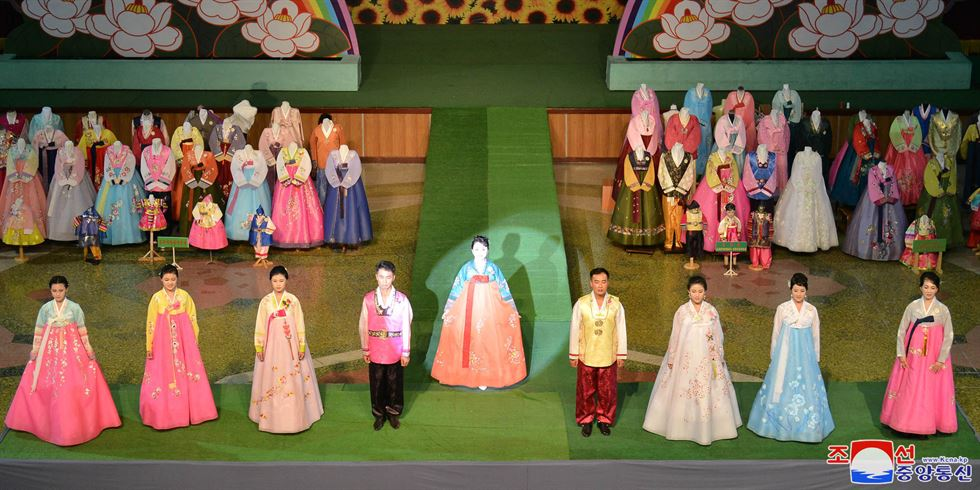 A model displays her dress on the catwalk during the 17th National Exhibition of Korean Dress at the Central Youth Hall in Pyongyang, North Korea, Thursday, Sept. 5, 2019. AP