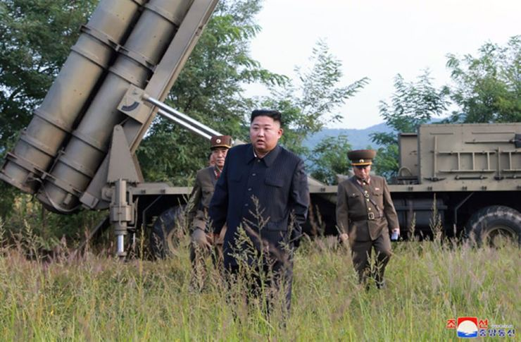 This image, released on Sept. 11, 2019, by the North Korean Official News Service (KCNA), shows North Korean leader Kim Jong-un supervising the test-firing of a 'super-large multiple rocket launcher.' UPI-Yonhap