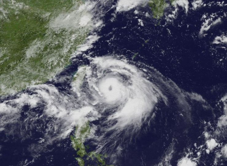 A satellite image shows Typhoon Lingling passing near Taiwan.