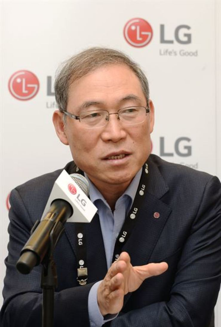 Song Dae-hyun, president of LG Electronics' home appliance and air solution division, speaks during a press conference at the IFA trade fair in Berlin, Saturday. / Courtesy of LG Electronics