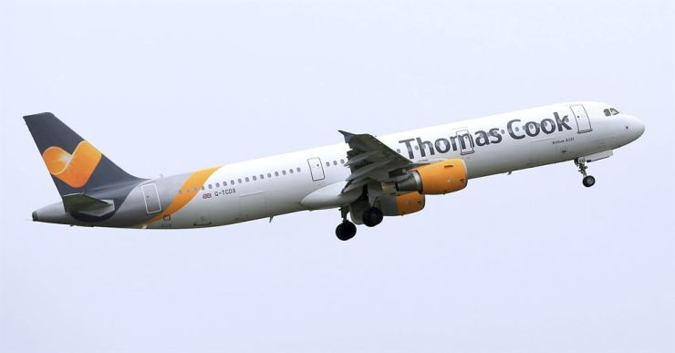 In this May 19, 2016, file photo, a Thomas Cook plane takes off from England. Veteran British tour operator Thomas Cook collapsed after failing to secure rescue funding, and travel bookings for its more than 600,000 global vacationers were canceled early Monday, Sept. 23, 2019. AP