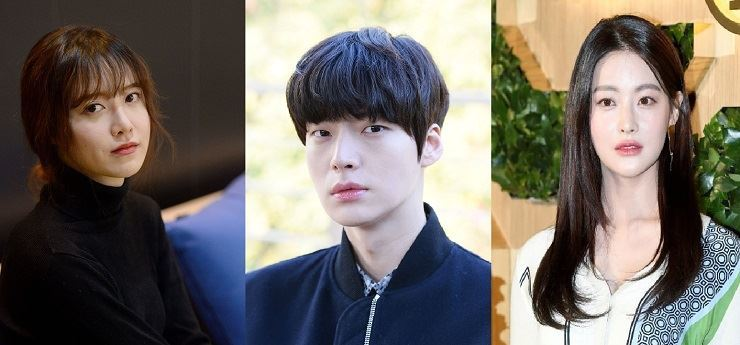 Ku Hye-sun, left, claims her husband Ahn Jae-hyun, center, had an affair with Oh Yeon-seo, who denied the allegation and threatened to sue Ku for defamation./ Korea Times file