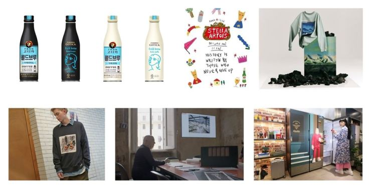 Clockwise from top left: Georgia Gotica's special edition cold brew, Stella Artois' special edition notebook, The Handsome's menswear brand TIME HOMME, Samsung Electronics' BESPOKE refrigerator, Massimiliano Fuksas working on LG Electronics' SIGNATURE lineup and LF's menswear brand JillStuart New York