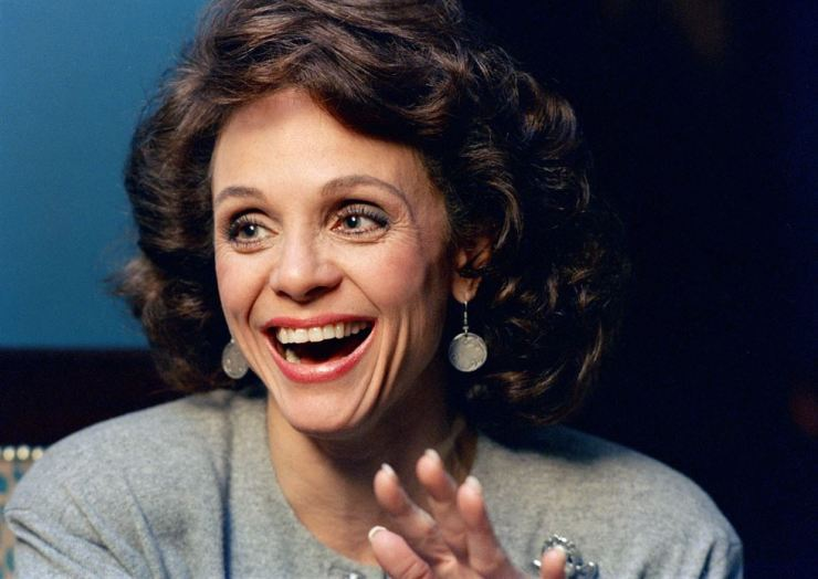 In this Jan. 1987 file photo, Actress Valerie Harper laughs during an interview in New York. Valerie Harper, who scored guffaws and stole hearts as Rhoda Morgenstern on back-to-back hit sitcoms in the 1970s, has died, Friday, Aug. 30, 2019. She was 80. (AP Photo/Ron Frehm, File)