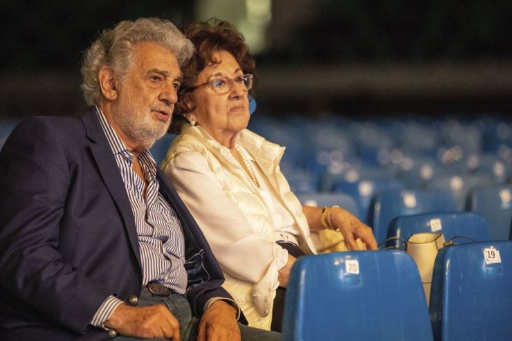 In this Tuesday, Aug. 27, 2019 file photo, Placido Domingo and his wife, Marta, attend a rehearsal for the opening gala of the Gerard of Sagredo Youth Forum and Sports Center in Szeged, Hungary, a day prior to the event. Melinda McLain, who was the production coordinator at LA Opera for its inaugural season in 1986-87 and also worked at the Houston Grand Opera, said she and others would invite Marta to attend company parties 'because if Marta was around, he behaves.' (Tibor Rosta/MTI via AP)