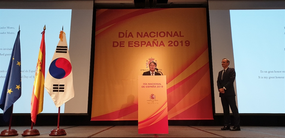 Spanish Ambassador to Korea Juan Ignacio Morro Villacian gives a speech during a reception to celebrate the National Day of Spain at the Four Seasons Hotel Seoul in downtown Seoul, Oct. 10. / Korea Times photo by Yi Whan-woo