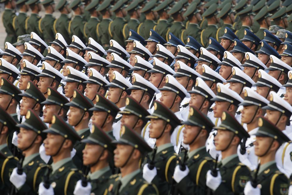 Chinese troops take part in a rehearsal ahead of a military parade in Tiananmen Square in Beijing on Oct. 1, 2019, to mark the 70th anniversary of the founding of the People's Republic of China. AFP
