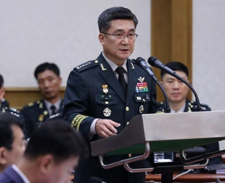 Army Chief of Staff Gen. Suh Wook speaks in an opening remark of the National Assembly's annual audit, Friday, at the Gyeryongdae military headquarters in South Chungcheong Province. Yonhap