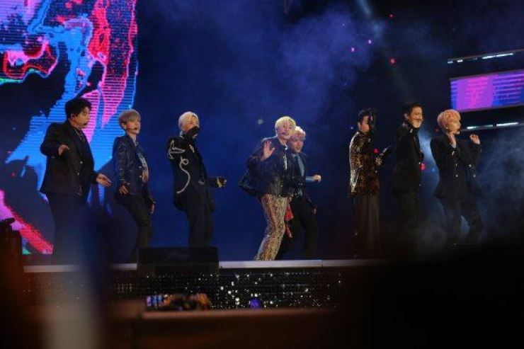 Super Junior performs at Hwamyeong Ecological in Busan, Saturday. The Busan One Asia Festival will run till Oct. 25. Courtesy of Busan Tourism Organization