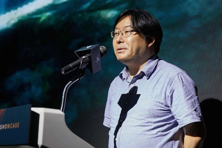 Park Yong-hyun, CEO of NAT Games, an affiliate of Nexon, introduces the company's new mobile game 'V4' during a press conference at the Le Meridien Seoul hotel, Sept. 27. / Courtesy of Nexon