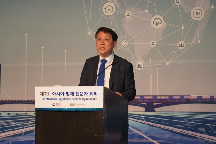 Kim Hyung-yun, minister of government legislation, gives an opening speech at the Asian Legislative Experts Symposium at The Plaza Seoul hotel, Wednesday. Courtesy of Ministry of Government Legislation