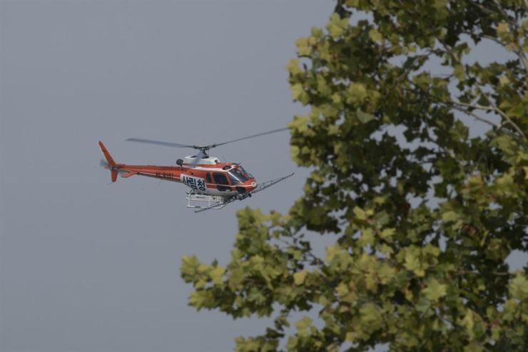 A Korea Forest Service helicopter flies over Paju, a border city in Gyeonggi Province near the inter-Korean Demilitarized Zone (DMZ) to spray disinfectant over the buffer zone, last Friday. Yonhap