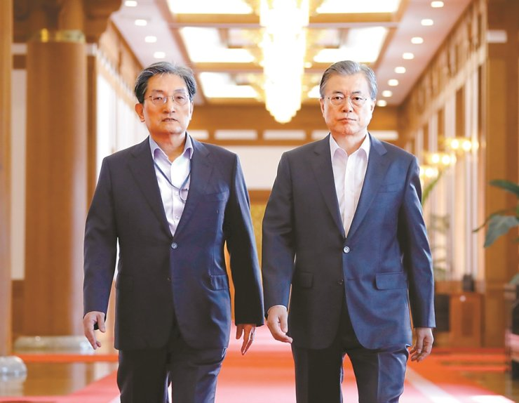 President Moon Jae-in, right, and his chief of staff Noh Young-min