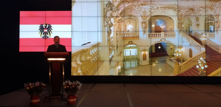Austrian Ambassador to Korea Michael Schwarzinger delivers a speech during a reception to celebrate the Austrian National Day at the JW Marriott Dongdaemun Square Seoul hotel in eastern Seoul, Oct. 25.  / Korea Times photo by Yi Whan-woo